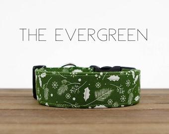 "Holiday Spruce Green Festive Christmas Dog Collar ""The Evergreen"""