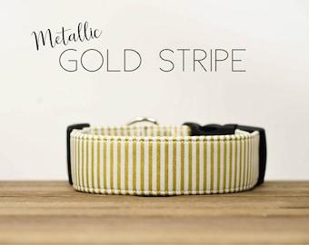 Holiday Metallic Gold Festive Dog Collar