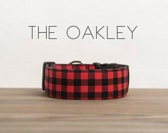"Red & Black Lumberjack Mini Buffalo Plaid Dog Collar ""The Oakley"""