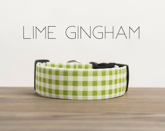 Modern Summery Gingham Dog Collar in Lime