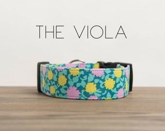 """Colorful Turquoise, Pink & Yellow Dog Collar """"The Viola """""""