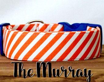 "Preppy Orange Diagonal Striped Dog Collar ""The Murray"""