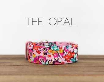 """Pink, Coral, Ice Frappe Modern Vintage Fall Floral Dog Collar """"The Opal"""""""