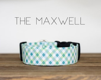 """Preppy Boy Blue, Green and Turquoise Plaid Dog Collar """"The Maxwell"""""""