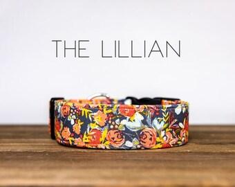"Grey, Peach, Coral, Mustard Vintage Floral Flower Dog Collar ""The Lillian  """