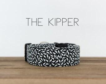 """Black and White Modern Lightning Bolt Unisex Dog Collar """"The Kipper"""""""