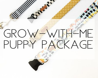 Grow With Me! Puppy Package (includes 3 collars of various sizes and matching leash)