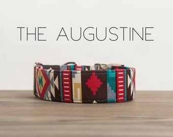 "Colorful Aztec Inspired Dog Collar ""The Augustine"""