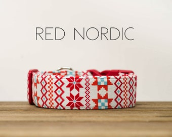 Holiday Red Nordic Winter Inspired Dog Collar
