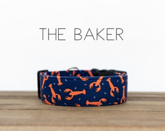 """Navy and Dark Coral Lobster Nautical Inspired Dog Collar """"The Baker"""""""