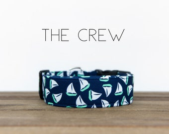"""Navy and Turquoise Sailboat Nautical Inspired Dog Collar """"The Crew"""""""