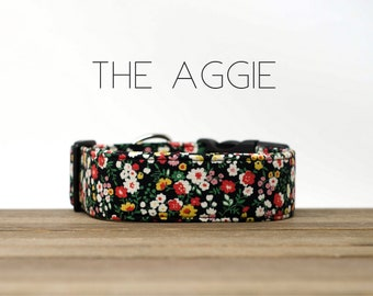 """Black, White, Red and Yellow Modern Vintage Floral  Dog Collar """"The Aggie"""""""
