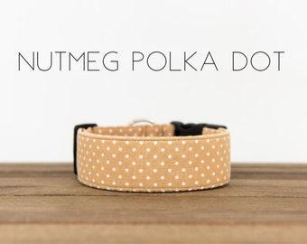 """Modern Classic Fashion Inspired Dog Collar """"Nutmeg Polka Dot"""""""