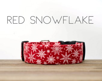 Holiday Red and White Snowflake Winter Inspired Dog Collar