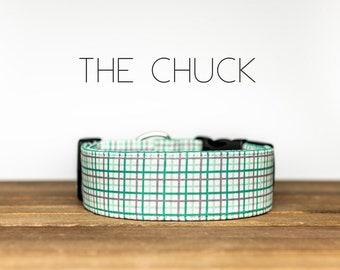 "White, Green & Grey Plaid Dog Collar ""The Chuck"""
