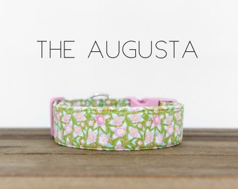 """Green and Pink Modern Vintage Spring Floral Dog Collar """"The Augusta"""""""