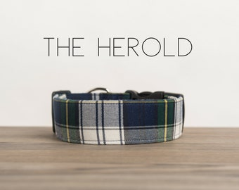 "Navy, Green, Yellow & White Plaid Dog Collar ""The Herold"""