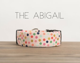 "Playful Multi-Color Blush Polka Dot Dog Collar ""The Abigail"""