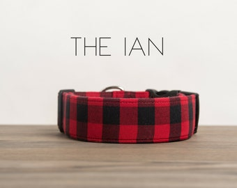 "Dog Collar Red & Black Lumberjack Buffalo Plaid ""The Ian"""