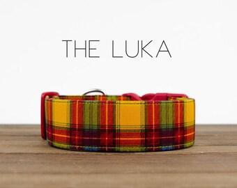 "Red, Mustard, Blue Dapper Dad Plaid Dog Collar "" The Luka"""