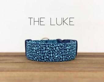 "Light Blue and Navy Text Emoji Modern Dog Collar ""The Luke"""