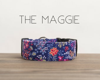 "Modern Purple & Pink  Floral Dog Collar ""The Maggie"""