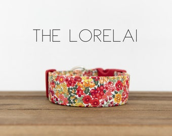 "Red, Orange, Yellow and Green Modern Vintage Fall Floral Dog Collar ""The Lorelai"""