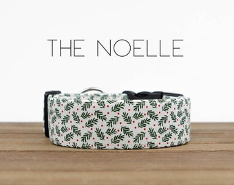 """Chic Green Spruce Sprig Christmas Holiday Dog Collar """"The Noelle"""""""