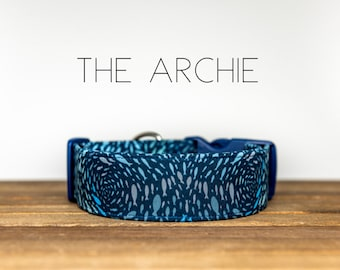 """Navy Blue Nautical Fish Dog Collar """"The Archie"""""""