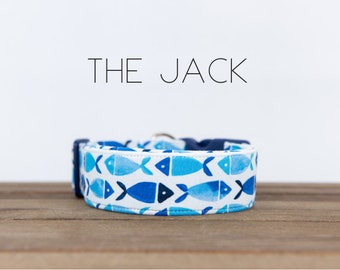 "Modern Blue Fish Vacation Inspired Dog Collar ""The Jack"""