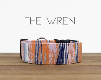 """Colorful Watercolor Inspired  Dog Collar """"The Wren"""""""