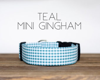 Teal Mini Gingham Dog Collar