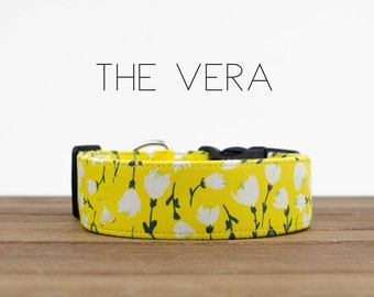 """Yellow Vintage Floral Inspired Dog Collar """"The Vera"""""""