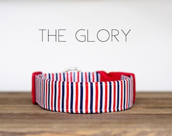 """Modern Patriotic Red, White, & Blue Dog Collar """"The Glory"""""""