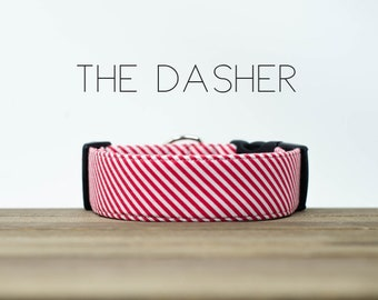 "Holiday Red and White Candy Stripe Dog Collar ""The Dasher"""