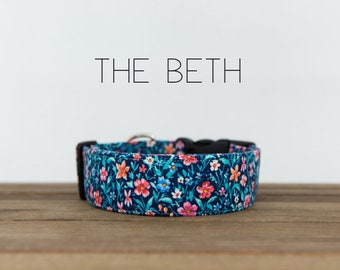 """Blue and Pink Modern Vintage Fall Floral Dog Collar """"The Beth"""""""