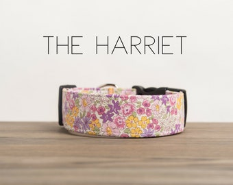 """Vintage Inspired Pink & Purple Girly Floral Dog Collar """"The Harriet"""""""
