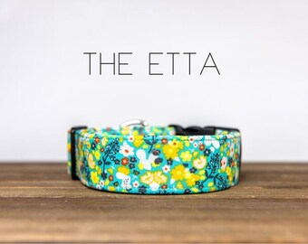 "Turquoise, Yellow and Orange Vintage Floral Flower Dog Collar ""The Etta  """