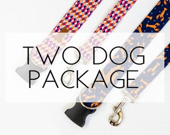 Two Dog Package- 2 Dog Collars & 2 Dog Leashes
