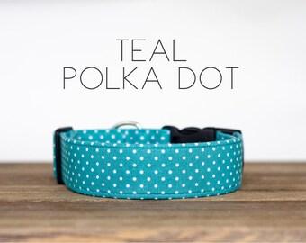 Teal Polka Dot Dog Collar