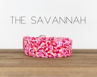 "Pink and White Watercolor Abstract Dog Collar ""The Savannah"""