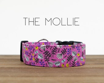 """Fuchsia Colorful Floral Inspired Dog Collar """"The Mollie"""""""