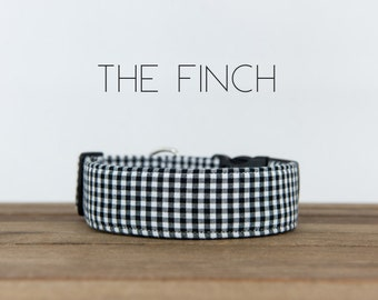 "Modern Black & White Plaid Checked Dog Collar ""The Finch"""