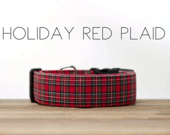 Holiday Red Plaid Winter Festive Dog Collar