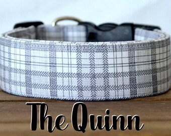 "Charcoal, Light Grey & White Plaid Dog Collar ""The Quinn"""