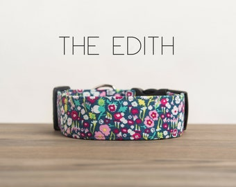 "Light Pink & Dark Pink  Floral Dog Collar ""The Edith"""