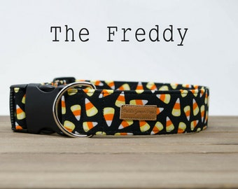 Black, Orange and Yellow Candy Corn Halloween Dog Collar The Freddy