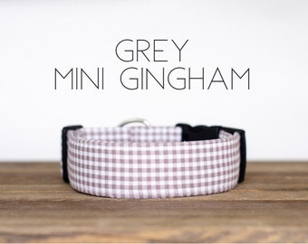 Grey Mini Gingham Dog Collar