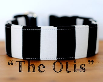 "Modern Black & White Striped Dog Collar ""The Otis"""