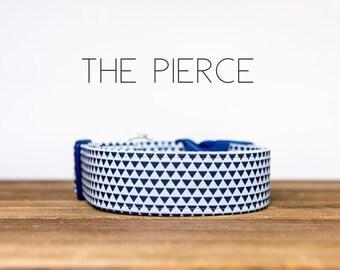 "Blue Triangle Geometric Dog Collar ""The Pierce """